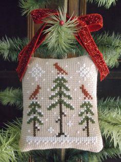 Winter decor, Primitive cardinal birds, Completed stitched ornament,Winter ornament,Winter cardinals, primitive decor
