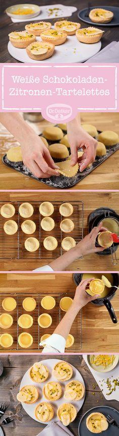 Kleine Knusperschalen, die mit einer fruchtig-säuerlichen Zitronencreme und einer weißen Schoko-Canache gefüllt werden