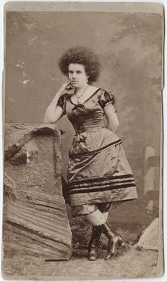 ca. 1855-1895, [carte de visite portrait of a circus performer; a woman leaning on a rock], I. W. Taber & Company  via Yale Collection of Western Americana, Beinecke Rare Book and Manuscript Library, Carl Mautz Collection