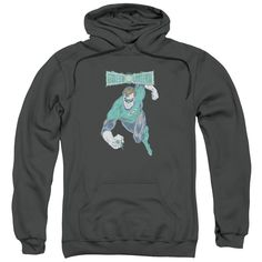 DCO/Desaturated Green Lantern Adult Pull-Over Hoodie in Charcoal
