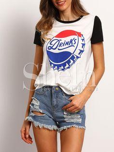 Camiseta manga corta estampada casual -blanco