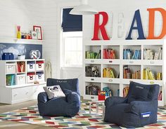 Get playroom ideas and inspiration from Pottery Barn Kids. Shop playroom furniture, and storage ideas from some of our favorite playrooms. Pottery Barn Kids, Pottery Barn Playroom, Reading Nook Kids, Kids Storage, Book Storage, Playroom Storage, Book Shelves, Playroom Layout, Library Shelves