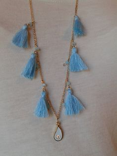 chain necklace with light blue pompon beads and by toocharmy e77f1f450e8