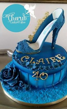 Glamorous Blue Shoe - Cake by Cherub Couture Cakes