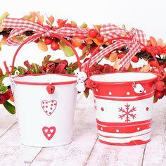 Mini cubitos blancos y rojos para Navidad