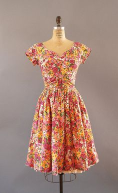 1950s Dress / Spring Blooms Dress / 50s by wildfellhallvintage, $78.00