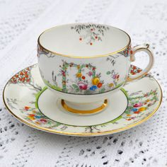 Teacup and Saucer Duo Grosvenor Bone China by Jackson & Gosling Ltd Ye Olde English Hand Painted Flowers Rose Arch and Orange Tree Tea Cup Set, My Cup Of Tea, Cup And Saucer Set, Tea Cup Saucer, Teapots And Cups, Teacups, Vintage Coffee, Vintage Tea, Tea Riffic