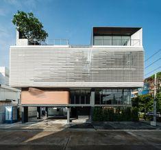 Peak Office, Bangkok, Thailand - Pure Architect EQUITONE [tectiva] facade panels installed as louvres.