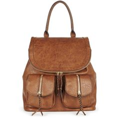 Sole Society Emery Vegan Leather Backpack With Front Pockets ($60) ❤ liked on Polyvore featuring bags, backpacks, brown, vegan leather backpack, faux leather rucksack, faux-leather backpacks, backpack bags and fake leather backpack