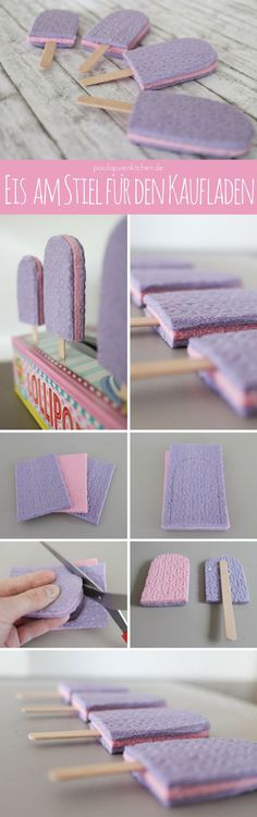 Make shop accessories yourself: popsicles- Kaufladenzubehör selber machen: Eis am Stiel Crafting ideas for children wanted? Let& try that: Popsicles for Finn& shop - Diy Projects For Kids, Diy For Kids, Crafts For Kids, Felt Diy, Felt Crafts, Diy And Crafts, Felt Play Food, Diy Bebe, Diy Store
