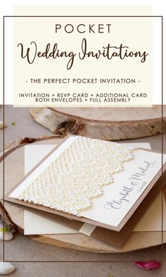 Custom Lace Wedding Invitations inspired in elegant weddings. The addition of the big piece of cream lace on front with personalized names and date turns this invitation simply perfect. Pocket Invitation, Handmade Wedding Invitations, Laser Cut Wedding Invitations, Printable Wedding Invitations, Pocketfold Invitations, Invites, Rustic Wedding Stationery, Cream Wedding, Wedding Paper