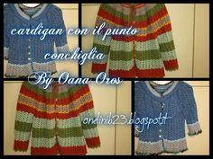 Cardigan all'uncinetto prima parte (with english captions) English Caption, Crochet Shell Stitch, Alberta Ferretti, Beading Tutorials, Arm Warmers, Mittens, Sweaters, Jackets, Hat Patterns