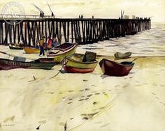 Millard Sheets - Path of Light, Newport Pier, 1927 - California art - fine art print for sale, giclee watercolor print - Californiawatercolor.com