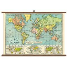 Vintage World Map Poster Vintage Office Decorations And Organizing - Oversized vintage maps