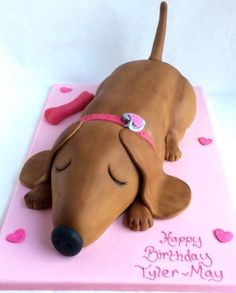 Who could resist this sleeping sausage dog cake! Sleepy comes on a x board and can be ordered in vanilla Genoese or Belgian chocolate cake and will give approximately 40 to 50 portions. Themed Birthday Cakes, Dog Birthday, Themed Cakes, Cupcakes, Cupcake Cakes, Dachshund Cake, Dog Themed Parties, Animal Cakes, Dog Cakes