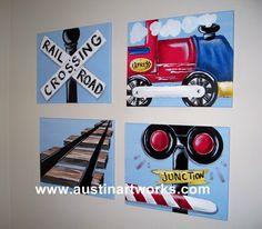 wall art kids art #kids #ryder #train art for boys 16x20 each canvas