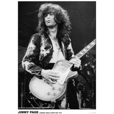 Jimmy Page Led Zeppelin - Earls Court London 1975 Music Poster Sold by Our Campus Market