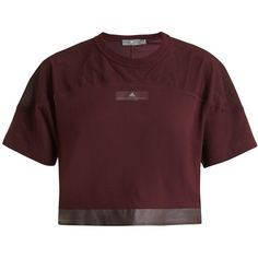 Adidas By Stella McCartney Essentials mesh-insert performance T-shirt (2.465 RUB) ❤ liked on Polyvore featuring activewear, activewear tops, adidas, shirts, tops, burgundy, wicking shirts, cropped shirts, breathable shirts and mesh shirt
