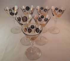 Black & Gold Coin Cordial Glasses Libbey by Milehighvintage303