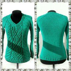 Изумрудный пуловер аранами! Вяжу на заказ!!!