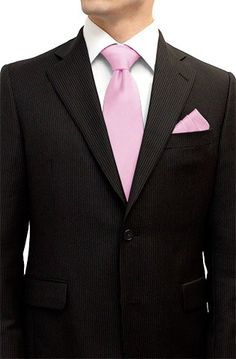 Henkaa Tie and Pocket Square Set Baby Pink $38