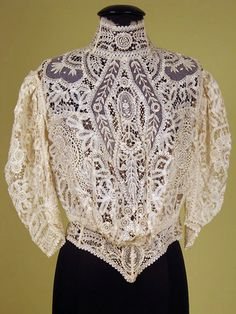 Cream Mixed Lace Blouse, c. 1905