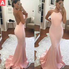 $126.99 Pink Halter Backless Sweep Train Mermaid Prom Dresses 2017products_id:(1000075483 or 1000075245 or 1000075143 or 1000074546 or 1000073444)