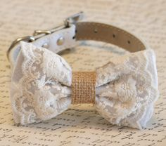 A personal favorite from my Etsy shop https://www.etsy.com/listing/208650631/white-dog-bow-tie-lace-and-burlap-rustic