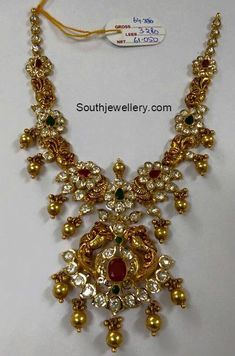 Uncut Diamond Necklace latest jewelry designs - Page 10 of 112 - Indian Jewellery Designs Indian Wedding Jewelry, Bridal Jewelry, Gold Jewelry, Gold Necklaces, Cz Jewellery, India Jewelry, Latest Jewellery, Temple Jewellery, Indian Jewellery Design