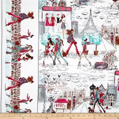 Who's That Girl On the Town Sweet from @fabricdotcom  Designed by Izak Zenou for Robert Kaufman, this cotton print is perfect for quilting, apparel and home decor accents.  Colors include white, black, pink, red, aqua,grey, peach and shades of brown.
