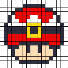 Christmas Santa mushroom perler bead pattern or cross stitch pattern. Maybe even a quilt pattern too, just go all out! Fuse Bead Patterns, Perler Patterns, Beading Patterns, Cross Stitch Patterns, Perler Bead Designs, Perler Bead Templates, Pixel Art, Perler Bead Mario, Christmas Perler Beads