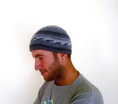 #handmadegift #gift #giftforhim Knitted mens beanie beret hat in grey shades by KnitterPrincess, $19.90 https://www.etsy.com/listing/115202217/knitted-mens-beanie-beret-hat-in-grey?ref=shop_home_active