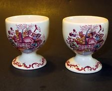 Fruit Basket Footed Egg Cups transferware lot of 2 England vintage