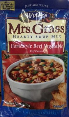 Mrs. Grass Homestyle BEEF VEGETABLE Soup Mix 7.48oz (3 Pack) by Wyler's -- Awesome products selected by Anna Churchill
