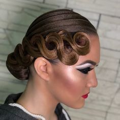 Image may contain: 2 people Up Hairdos, Dance Hairstyles, Braided Hairstyles Updo, Retro Hairstyles, Wedding Hairstyles, Updo Hairstyle, High Bun Hair, Hair Buns, Ballroom Dance Hair
