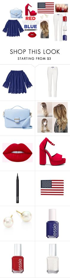 """Classy 4th Of July"" by a-princess-aurora-w ❤ liked on Polyvore featuring Cynthia Rowley, Jeffrey Campbell, NARS Cosmetics, Majorica and Essie"