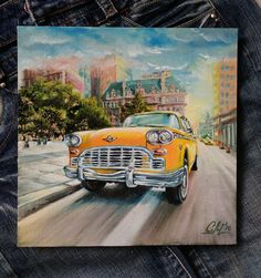 Oil painting Old car Fine art painting New York street Original painting canvas retro painting Husband gift men gift for doctor Colorful art *************************************************************************** Oil painting The old car  its original oil painting on canvas. NOT PRINT. This painting show the classic scene of New York and stylish old yellow taxi. READY TO SHIP! Original oil painting  The old car  is executed in oils of high quality , on quality canvas, fine grain. Canvas…