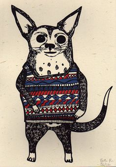 Dave the Dog, a 3 colour screen print by Boodle Boutique (me)