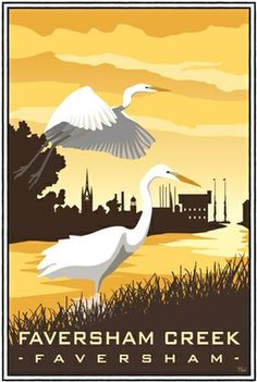 Egrets at Faversham Creek, Kent Posters Uk, Railway Posters, Poster Ads, Poster Prints, Bird Pictures, Pictures To Draw, Kent Travel, Kent Coast, Vintage Travel Posters