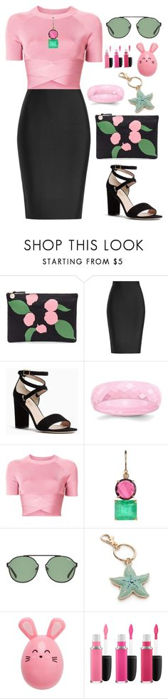 """Untitled #2071"" by ebramos ❤ liked on Polyvore featuring Clare V., Roland Mouret, Kate Spade, T By Alexander Wang, Irene Neuwirth, New Directions and MAC Cosmetics"