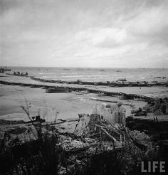 Omaha Beach, Mulberry A after the storm.