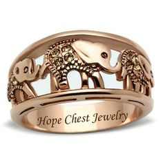 Rose Gold Tone Stainless Steel Three Elephant Right Hand Band Ring - Hope Chest Jewelry