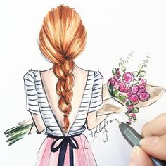 Super flowers in hair drawing etsy Ideas Pencil Art Drawings, Cute Drawings, Drawing Sketches, Art And Illustration, How To Draw Hair, Beautiful Drawings, Fashion Sketches, Flowers In Hair, Cartoon Art