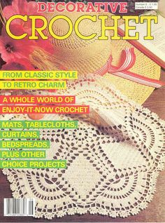 Decorative Crochet magazine 1988 Number 6 Vintage with 29 projects for Thread Crochet, Doilies, Filet by on Etsy Filet Crochet, Crochet Mat, Crochet Doily Patterns, Crochet Home, Thread Crochet, Crochet Designs, Crochet Doilies, Crochet Symbols, Knitting Magazine
