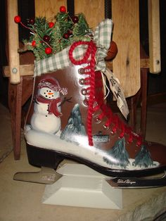 Recycled Hand Painted Primitive Snowman Ice Skate by sunnybecca