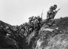 British soldiers going over the top. The allies fought aggressively here as their objective was to relieve the French of Verdun and inflict losses on the German forces.
