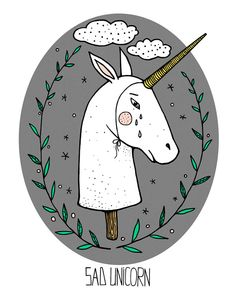 very boring unicorn by Nastya fisheye, via Behance