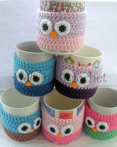 Crochet Owl Mug Cosy - The Supermums Craft Fair