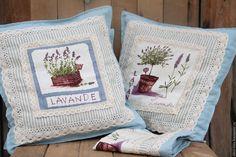 """Купить Голубые подушки """"Прованс"""" - голубой, прованс, лаванда, подушка, интерьер, интерьер спальни"""