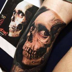 Amazing Evil Dead skull tattoo!